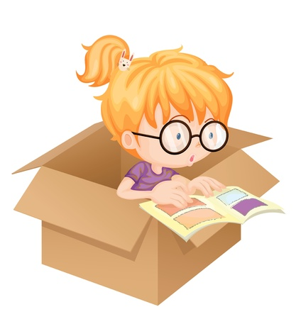 golden hair: Illustration of a girl reading book in a box on white background Illustration