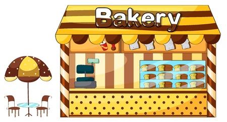 bread shop: Illustrazione di un negozio di panetteria su uno sfondo bianco