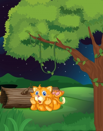 lying in: Illustration of a cat lying under a tree in a dark night