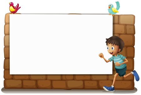Illustration of a white board, a boy and birds on a white background Stock Vector - 17031245