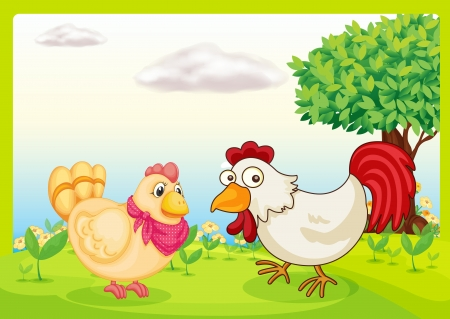 Illustration of chickens  on a field Stock Vector - 17036912