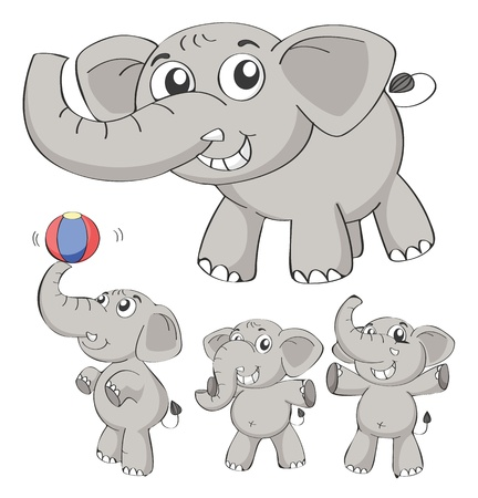 Illustration of elephants on a white background