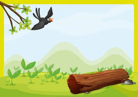 dry flies: Illustration of a flying bird in a beautiful nature Illustration