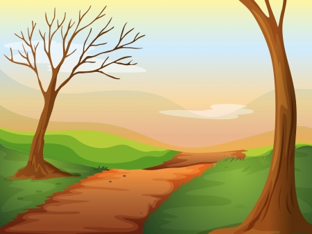 Illustration of a lonely road in a beautiful nature Vector