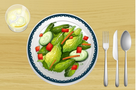 from above: Illustration of a garnished salad on a wooden table Illustration