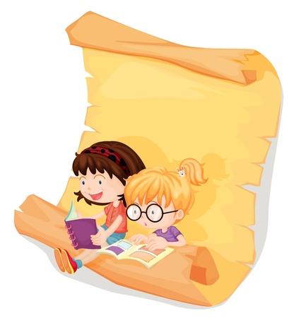 Illustratie van lachende meisjes en een scroll op een witte achtergrond