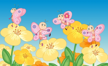 pink stripes: Illustration of butterflies next to flowers in the nature Illustration