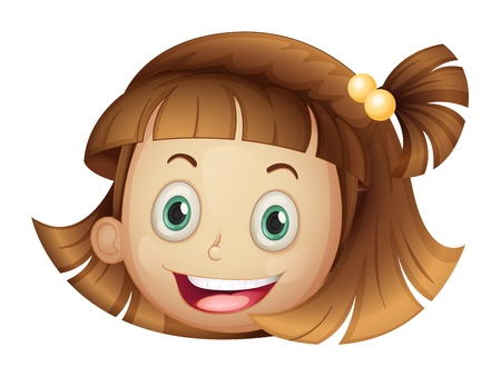 Illustration of a face of a girl on a white background Vector