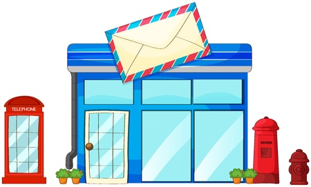 Illustration of a post office, a mailbox and a telephone on a white background Stock Vector - 17036890