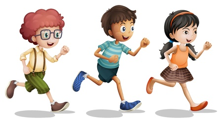 three objects: Illustration of kids running on a white background