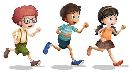 Ilustración de los niños corriendo sobre un fondo blanco