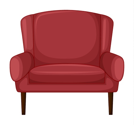 Illustration of a cushion chair on a white background