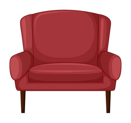 leather chair: Illustrazione di una sedia cuscino su uno sfondo bianco