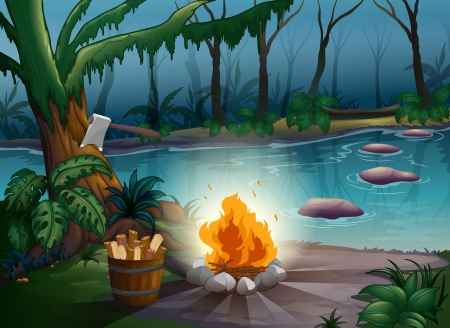 illustration of a river and camp fire in a scary jungle Vector