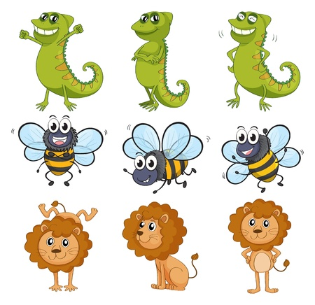 Illustration of a lion, a chameleon and a bee on a white background Stock Vector - 17036894