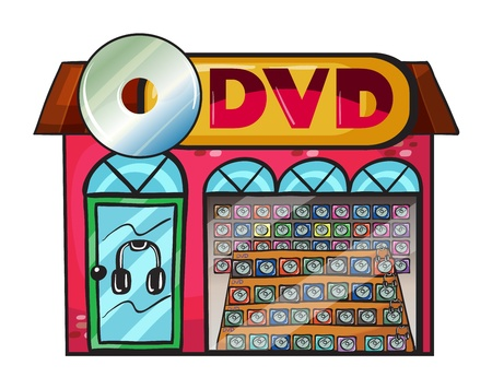 game show: Illustration of a dvd store on a white background