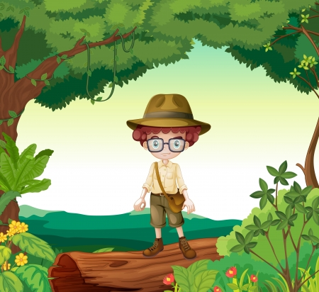 Illustration of a boy standing on a timber beam in a beautiful nature Vector
