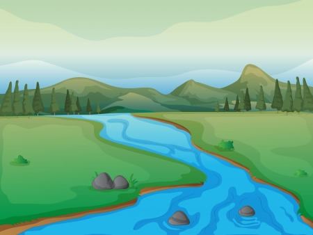 flowing river: Illustration of a river, a forest and mountains