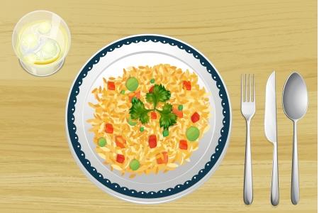 reis gekocht: Illustration eines Reis in einer Sch�ssel auf einem h�lzernen Hintergrund