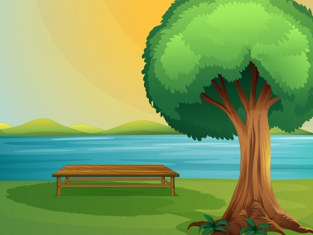 river bank: Illustration of a river and wooden bench in a beautiful nature