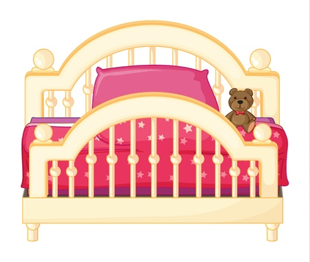 front angle: Illustration of a bed of a child on a white background Illustration