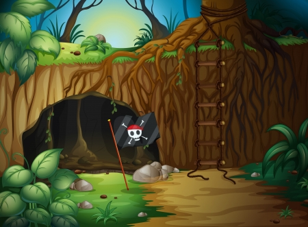 adventure story: Illustration of a cave and a pirate flag in a jungle
