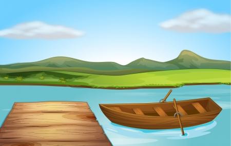 ボートと川沿いに着陸段階の図  イラスト・ベクター素材