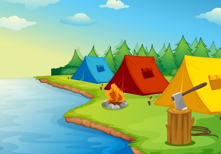 river bank: Illustration of camping near a river in the nature Illustration