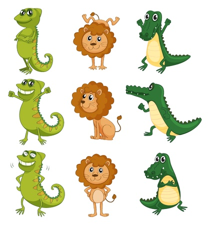 folded hand: Illustration of a lion, a chameleon and a crocodile on a white background