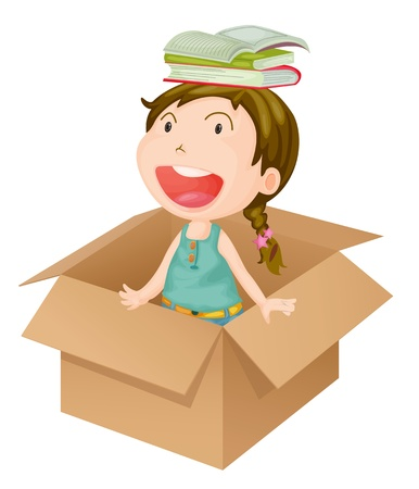 golden hair: Illustration of a girl in a box on a white background Illustration