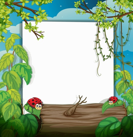 Illustration of a lady bug and a white board in a beautiful nature Vector