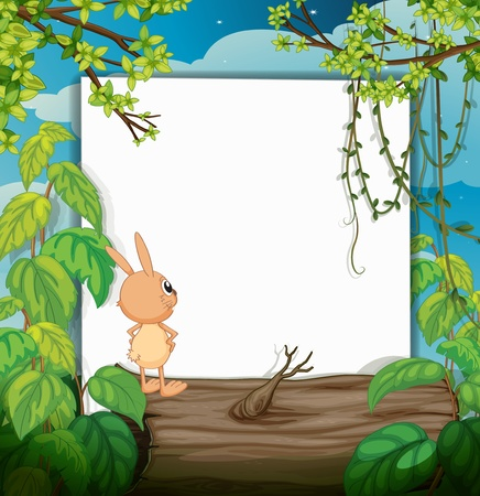 Illustration of a rabbit and a white board in a beautiful nature Stock Vector - 17036915