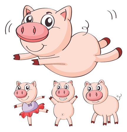 Illustration of pigs on a white background Vector