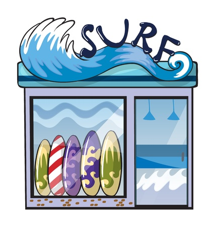 shop display: Illustration of a surf accessories store on a white background Illustration