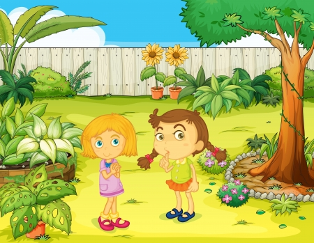 kids garden: Illustration of girls in the garden