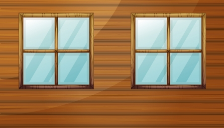Illustration of windows of a wooden cabin Stock Vector - 17036899