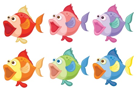 food: Illustration of smiling fishes on a white background