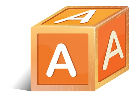 Illustration of a brick with the letter A on a white background Vector