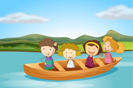 Illustration of kids in a boat on a river Vector
