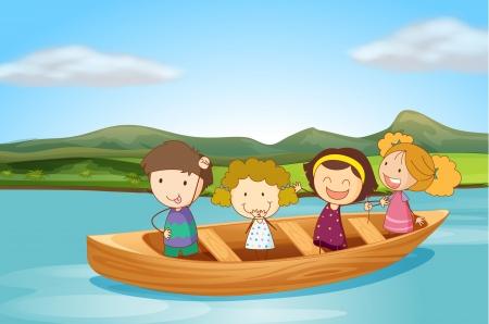 Ilustración de los niños en un barco en un río Foto de archivo - 17036901
