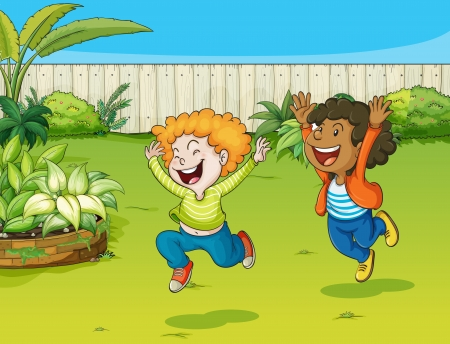 Illustration of playing kids in a garden Vector