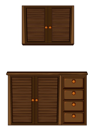 Illustration of a wardrobe on a white background Vector