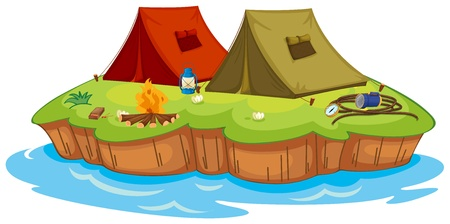 Illustration of a base camp on an island on a white background Vector