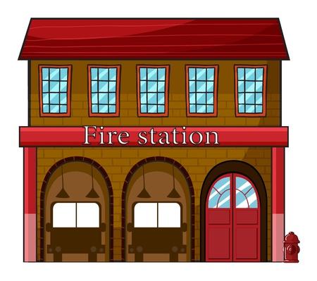 brandweer cartoon: Illustratie van een brandweerkazerne op een witte achtergrond Stock Illustratie