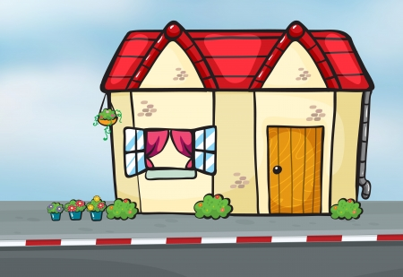 cartoon window: Illustration of a house on a side of a road