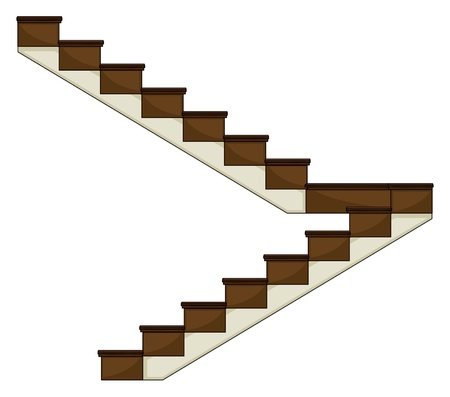 wooden stairs: Illustration of a staircase on a white background