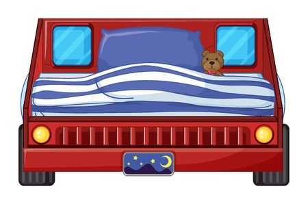 sleeping car: Illustration of a bed of a child on a white background Illustration