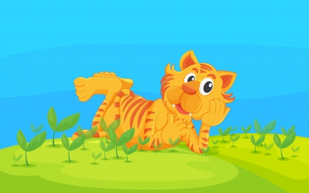Illustration of a lying tiger in a beautiful nature Vector
