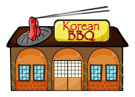 roast lamb: Illustration of a korean bbq shop on a white background Illustration