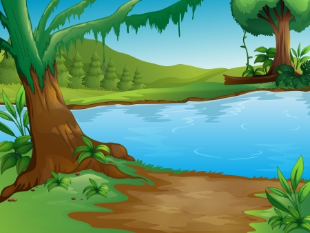 pond water: Illustration of a river in a beautiful nature